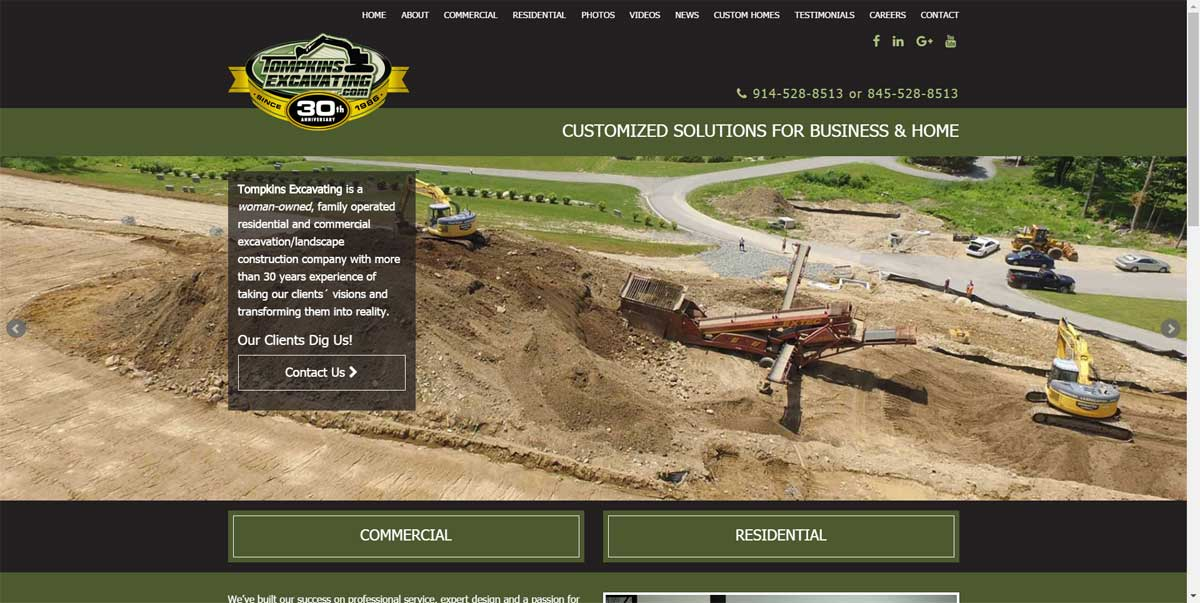 Thompkins Excavating Website