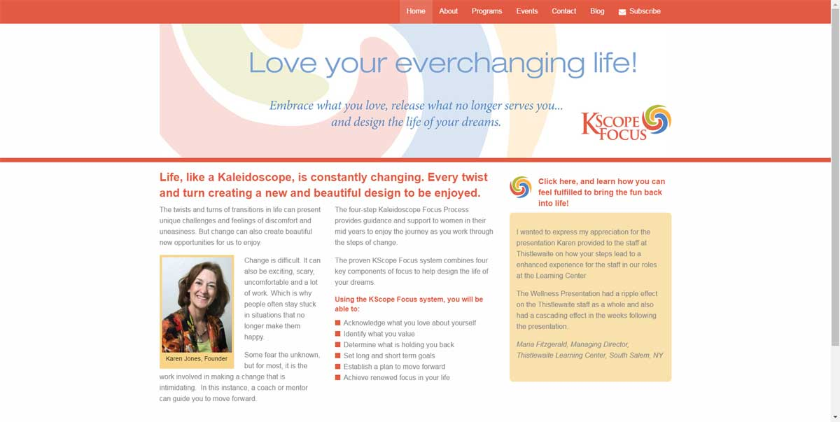 Kaleidoscope Focus Health Coach Website